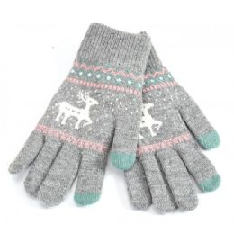 48 Units of Ladies Touch Screen Glove Reindeer Print - Conductive Texting Gloves