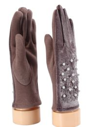 36 Units of Ladies Gloves With Pearls - Knitted Stretch Gloves