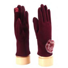 36 Bulk Ladies Glove With Fuzzy Flower