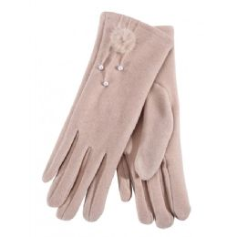 36 Bulk Ladies Glove With Fuzzy Flower And Pearl