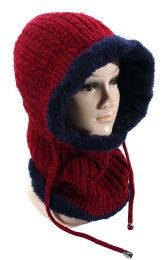 36 Units of Women's Villi Lined Twist Pattern Knitted Hat And Scarf With Fur Assorted Colors - Winter Sets Scarves , Hats & Gloves