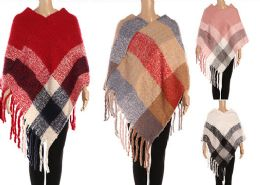 24 Units of Womens Plaid Winter Cape In Assorted Colors - Winter Pashminas and Ponchos