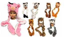 12 Units of Long Plush Animal Hats Assorted With Mittens - Winter Animal Hats