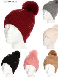 36 Units of Women Winter Pom Pom Hat With Studs Design - Winter Beanie Hats