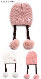 36 Units of Girls Winter Hat With Pom Pom Textured Design - Winter Beanie Hats
