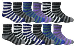 120 Units of Yacht & Smith Men's Warm Cozy Fuzzy Socks, Stripe Pattern Size 10-13 - Men's Fuzzy Socks