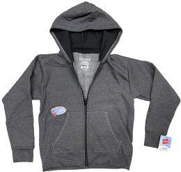 24 of Billionhats Wholesale 24 Pack Kids Hoodie Sweatshirts Bulk, Zipper, Ecosmart Yarn, Hoodie Pocket, Charcoal Gray (large)