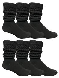 6 of Yacht & Smith Mens Cotton Extra Heavy Slouch Socks, Boot Sock Solid Black