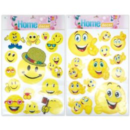96 Units of 3d Sticker Smiley Face - Stickers