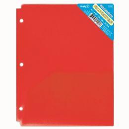 120 Wholesale Two Pockets Poly Portfolio Translucent Red