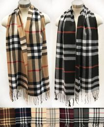 12 Units of Wholesale Classic Plaid Scarves Assorted Colored - Winter Scarves
