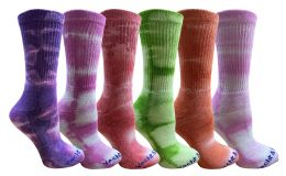 240 Units of Yacht & Smith Womens Ring Spun Cotton Tie Dye Crew Socks Size 9-11 Super Soft Arch Support - Women's Socks for Homeless and Charity