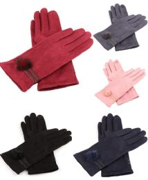 36 Units of Women Suede Like Winter Gloves With Fur Pom Pom - Winter Gloves