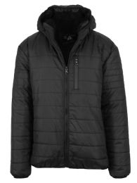 12 Units of Mens SherpA-Lined Hooded Puffer Jacket, Assorted Sizes S-Xxl Black - Men's Winter Jackets