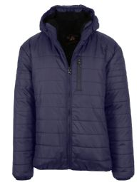 12 Units of Mens SherpA-Lined Hooded Puffer Jacket, Assorted Sizes S-Xxl Navy - Men's Winter Jackets