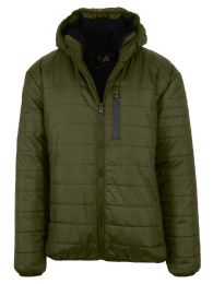 12 Units of Mens SherpA-Lined Hooded Puffer Jacket, Assorted Sizes S-Xxl Olive - Men's Winter Jackets