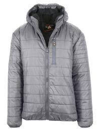 12 Units of Mens SherpA-Lined Hooded Puffer Jacket, Assorted Sizes S-Xxl Heather - Men's Winter Jackets