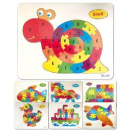 96 Units of Wooden Snail Puzzle Abc - Puzzles