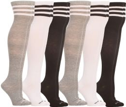 6 of Yacht & Smith Womens Over The Knee Socks, Assorted Soft, Cotton Colorful Patterned (6 Pairs Striped (black, White, Gray))