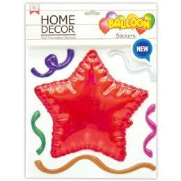144 Wholesale Room Decoration Sticker Star Pattern In Red