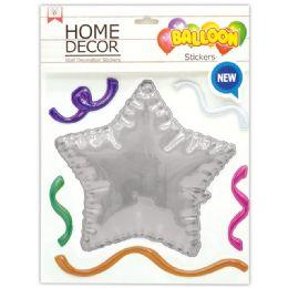 144 Wholesale Room Decoration Sticker Star Pattern In Silver