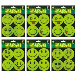 144 Wholesale Reflect Sticker Smiley Face