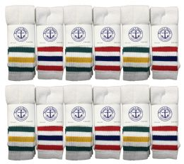 240 Units of Yacht & Smith Men's 30 Inch Referee Style Cotton Terry Tube Socks, Size 10-13 White With Stripes - Mens Tube Sock