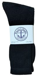 60 Units of Yacht & Smith Men's King Size Cotton Terry Cushioned Crew Socks Black Size 13-16 Bulk Pack - Big And Tall Mens Crew Socks