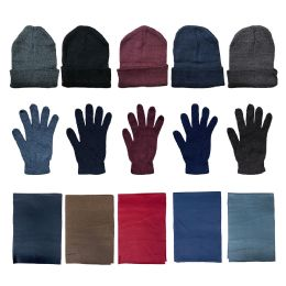 36 Bulk Yacht & Smith Unisex 3 Piece Winter Care Set, Assorted Beanie Hat , Assorted Magic Gloves And Assorted Fleece Scarf