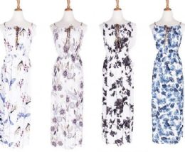 48 Units of Womens Scoopneck Long Maxi Dress Sleeveless Floral Patterned - Womens Sundresses & Fashion