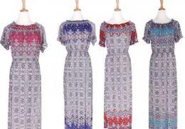36 Units of Women's Short Sleeve Empire Waist Maxi Dresses Long Dresses - Womens Sundresses & Fashion