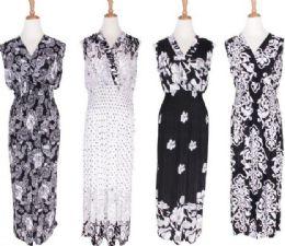 48 of Women's Sleeveless V Neck Maxi Dress In Assorted Pattern