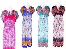 72 Units of Womens Summer Contrast Scoop Neck Short Sleeve Printed Maxi Dress - Womens Sundresses & Fashion