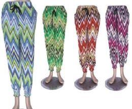 72 Units of Women's Comfy Casual Pants Printed Drawstring Palazzo Lounge Pants Wide Leg - Womens Pants