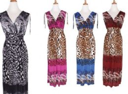 48 of Womens Fashion Maxi Sun Dresses Assorted Animal Print And Sizes Summer Dresses