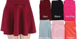 48 Units of Womens Basic Solid Versatile Stretchy Flared Casual Mini Skater Skirt - Womens Skirts