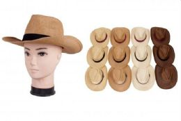 72 Wholesale Men's Straw Cow Boy Hats