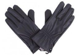 72 Units of Mens Black Pu Gloves In Black - Leather Gloves