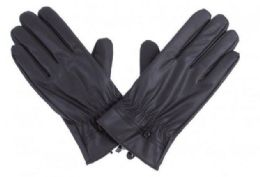 72 Units of Mens Black Pu Gloves In Black With Button Detail - Leather Gloves
