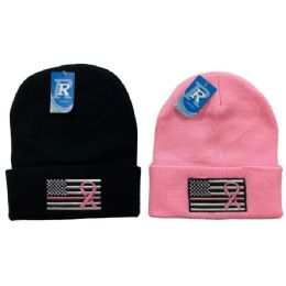 48 Units of Embroidered Knitted Cuff Hat [flag With Pink Ribbon] - Winter Hats