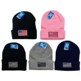 24 Units of Embroidered Knitted Cuff Hat [flag] - Winter Hats