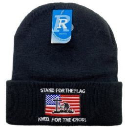 48 Units of Embroidered Knitted Cuff Hat stand For FlaG-Kneel For Cross - Winter Hats