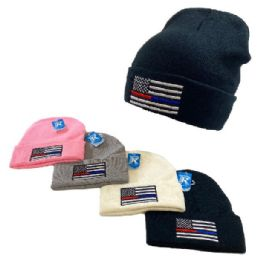 48 Units of Embroidered Knitted Cuffed Hat Blue Red Lives Matter - Winter Hats