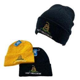 48 Units of Embroidered Knitted Cuffed Hat Don't Tread On me - Winter Hats