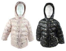 12 Units of Boy's & Girl's Metallic Star Winter Bubble Ski Jackets W/ Hood - Sizes XS-Xl - Choose Your Color(s) - Junior Kids Winter Wear