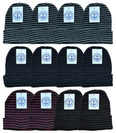 240 Units of Yacht & Smith Unisex Knit Winter Hat With Stripes Assorted Colors - Winter Gear