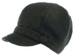 24 Wholesale Plain Cabbie Hat With Front Band And Side Button