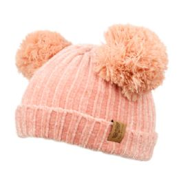 12 Units of Kids Double Pom Pom Chenille Knit Beanie In Assorted Color - Junior / Kids Winter Hats