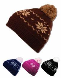 24 Units of Kids Winter Knit Beanie With Pom Pom Assorted Color - Junior / Kids Winter Hats
