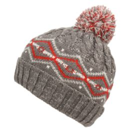 12 Units of Mix Color Kids Winter Knit Beanie With Pom Pom And Sherpa Lining Assorted Color - Junior / Kids Winter Hats